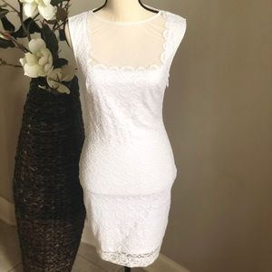 Bebe Appliqué Lace Dress